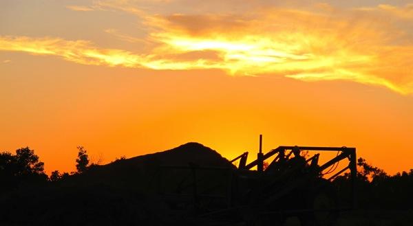 Pushing Buck Piles at Sunset IMG 1218